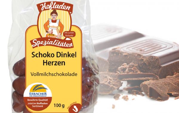 Dinkel Schoko Herzen Vollmilch 100g