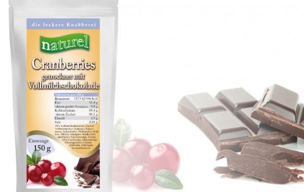 Cranberries mit Vollmilchschokolade 150g