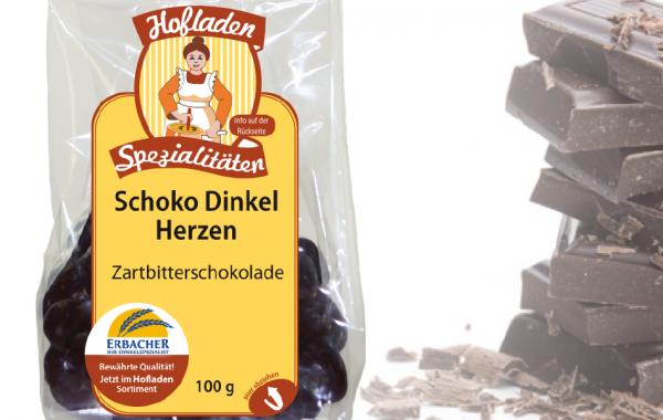 Dinkel Schoko Herzen Zartbitter 100g