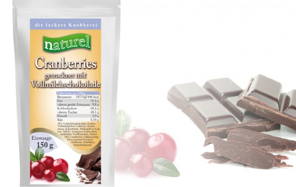 Cranberries mit Zartbitterschokolade 150g